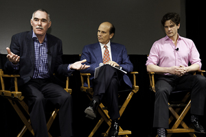 Whistleblower Victor DeNoble, left, with Mike Milken and filmmaker Charles Evans Jr., takes questions from the audience after the documentary screening.